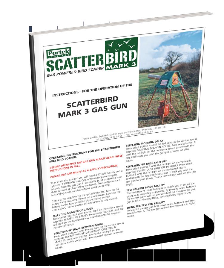portek scatterbird mark3 mk3 operators manual